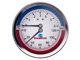 "Thermomanometer 1/2"" Ø80mm, 0-120 °C, 0-6 bar hinten"