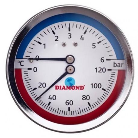 """Thermomanometer 1/2"""" Ø80mm, 0-120 °C, 0-6 bar hinten"""